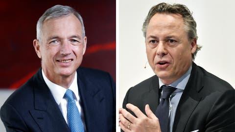 UBS-Schweiz-Chef Axel Lehmann (l.) kürzt das Filialnetz, der neue UBS-Konzernchef Ralph Hamers hat den Abbau abgenickt. (Stefan Kaiser, Zuger Zeitung / Walter Bieri, Key)
