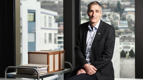 Der Krienser Finanzvorsteher Roger Erni (FDP), fotografiert in der Finanzabteilung im Stadthaus. (Bild: Dominik Wunderli (Kriens, 12. Januar 2021))