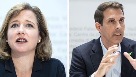 FDP-Nationalrätin Christa Markwalder ist für das Rahmenabkommen, FDP-Ständerat Thierry Burkart dagegen. (Keystone)