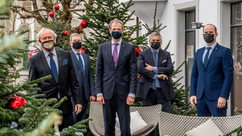 Der Luzerner Regierungsrat mit Maske. (Nadia Schaerli (Luzern, 15. Dezember 2020))