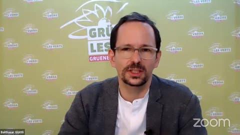 Balthasar Glättli, Präsident der Grünen, an der Online-Delegiertenversammlung vom Samstag. (Screenshot)