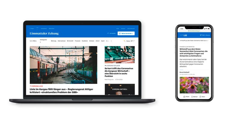 Neues Design: Desktop und Mobile. (Limmattaler Zeitung)