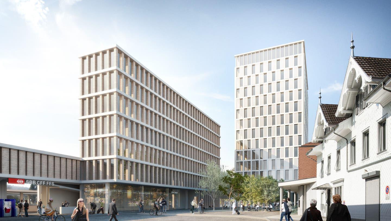 Im geplanten neuen Liestaler Bahnhof (links im Bild) wollte das Kantonsspital Baselland ein Ambulatorium eröffnen, nur einen kräftigen Steinwurf vom Spital entfernt. (Bild: Visualisierung zvg)