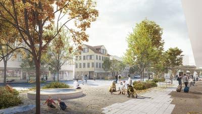 So könnte der Amriswiler Bahnhofplatz in Zukunft aussehen. Noch sind nicht alle Details geklärt. (Bild: Studio Vulkan Landschaftsarchitektur)