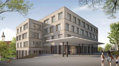 Neues Schulhaus Halde in Wohlen– so soll die Primarschule einmal aussehen. (Visualisierung/zvg)