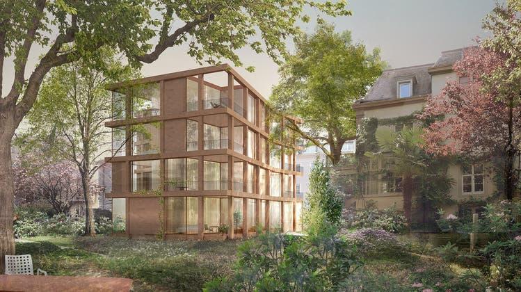 Wohnen im Park: So sieht die aktuelle Visualisierung des Bauprojekts an der Maiengasse aus. (zvg Gschwind Architekten)