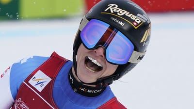 Switzerland's Lara Gut-Behrami reacts after completing an alpine ski, women's World Cup super-G race in Garmisch-Partenkirchen, Germany, Saturday, Jan. 30, 2021. (AP Photo/Giovanni Auletta) (Giovanni Auletta / AP)