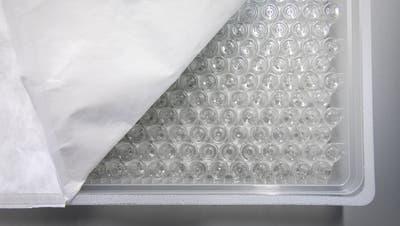 Abgepackte Glasflaeschchen in einem Plastikbehaelter, stehen in der Firma Medistri, am Freitag, 22. Januar 2021 in Domdidier. Die Firma Medistri sterilisiert Flaeschchen fuer die Covid-19 Impfung von vereschiedenen Herstellern. (KEYSTONE/Peter Klaunzer) (Peter Klaunzer / KEYSTONE)