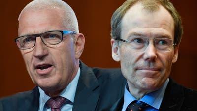 Über viele Jahre an der Spitze von Raiffeisen: Konzernchef Pierin Vincenz (links) droht eine Gefängnisstrafe, Verwaltungsratspräsident Johannes Rüegg-Stürm ist nicht angeklagt worden. (Keystone/ Montage CH Media)