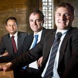 Gute Laune: 2013 trafen sich dieParteipräsidentenToni Brunner (SVP), Christophe Darbellay (CVP) und Philipp Müller (FDP) zum Dreierinterview. (Annika Buetschi / SaS)