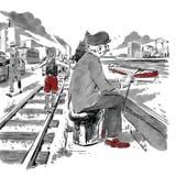 """Illustrationen von Raphael Gschwind zur bz Serie """"Die Farben dieser Stadt"""". Teil 3, die 1940er Jahre Bilder nur im Zusammenhang mit der Serie verwenden (Raphael Gschwind / bz Zeitung für die Region)"""
