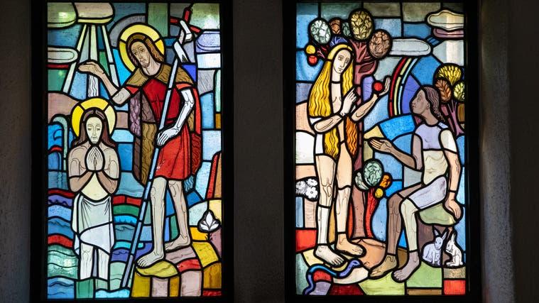Glasmalerei in der Trimbacher Kirche St. Mauritius. (Patrick Lüthy (Archiv))