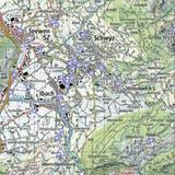 Alle AED-Standorte in der Gemeinde Schwyz auf einen Blick. (Karte:map.geo.sz.ch)