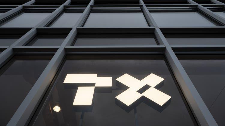 «PX» oder «TX»? Bildmarke des Verlagshauses «TX Group» in Zürich. (Ennio Leanza / KEYSTONE)