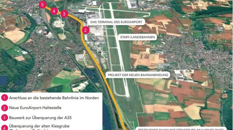 So sieht die Linienführung des Schienenzubringers an den Euro-Airport (EAP) aus. (zVg)