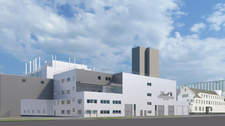 Die Visualisierung zeigt, wie das umgebaute Werk von Lindt & Sprüngli im Oltner Industriequartier 2024 aussehen wird. (Zvg / Lindt & Sprüngli)