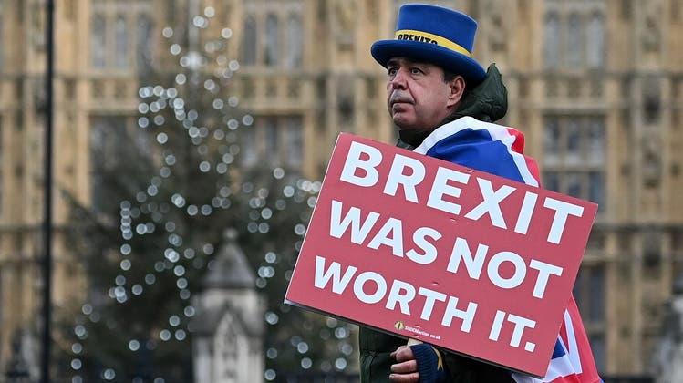 Seit 5 Jahren im Dauer-Protest: Der Londoner Aktivist Steve Bray hat grad wieder alle Hände voll zu tun. (Getty)