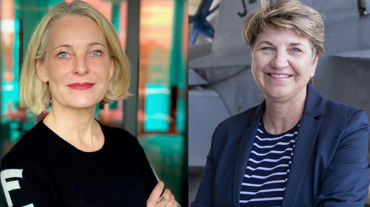 Die Firma von HSG-Professorin Miriam Meckel (links) arbeitet nun für das Verteidigungsdepartement von Bundesrätin Viola Amherd. (Bilder: zvg, Keystone)