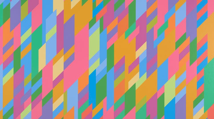 Ein Fest für Auge und Hirn: Bridget Riley, «Harmony in Rose», 1997, Öl auf Leinwand, 164,5 x 227,7 cm. Sammlung Gabriele und Werner Merzbacher, Dauerleihgabe im Kunsthaus Zürich. (Bild: Kunsthaus Zürich)