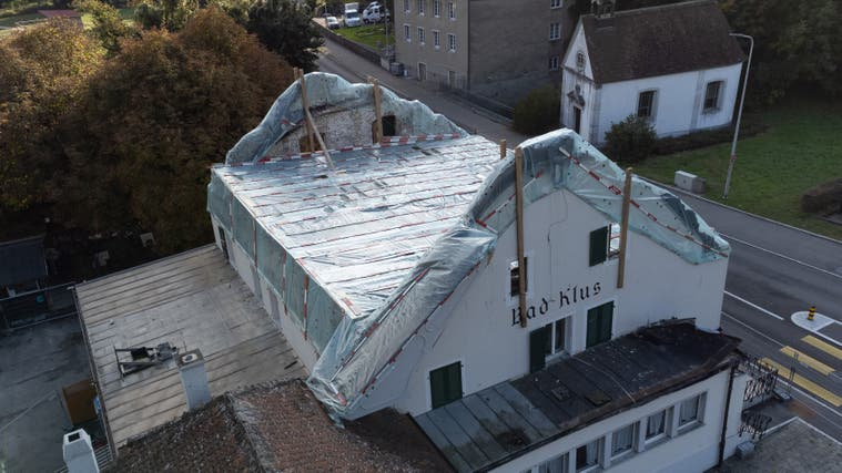 Baustelle nach einem Brand im August 2021 beim Restaurant Bad Klus in Oensingen. (Patrick Lüthy)