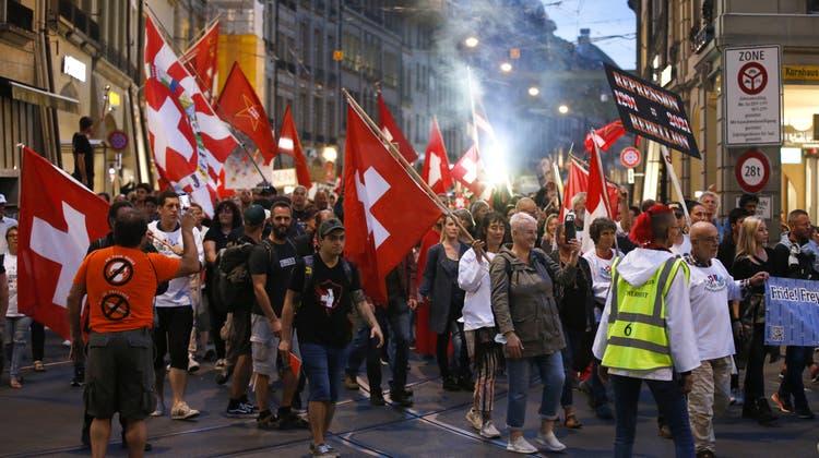 Seit dem 9. September finden in Bern regelmässig am Donnerstag Proteste statt. (Archivbild: Keystone)