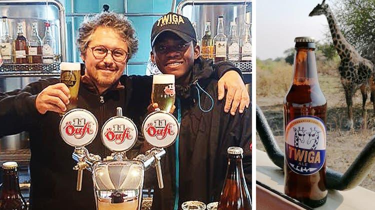 Bierbrauer Moritz Künzle und Damian Mosoka in der Öufi-Brauerei. (Zvg)