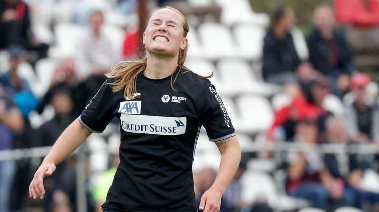 Bittere Niederlage in Basel. Julia Höltschi und die Red Boots Aarau scheitern an der mangelnden Chancenverwertung. (Marc Schumacher / freshfocus)