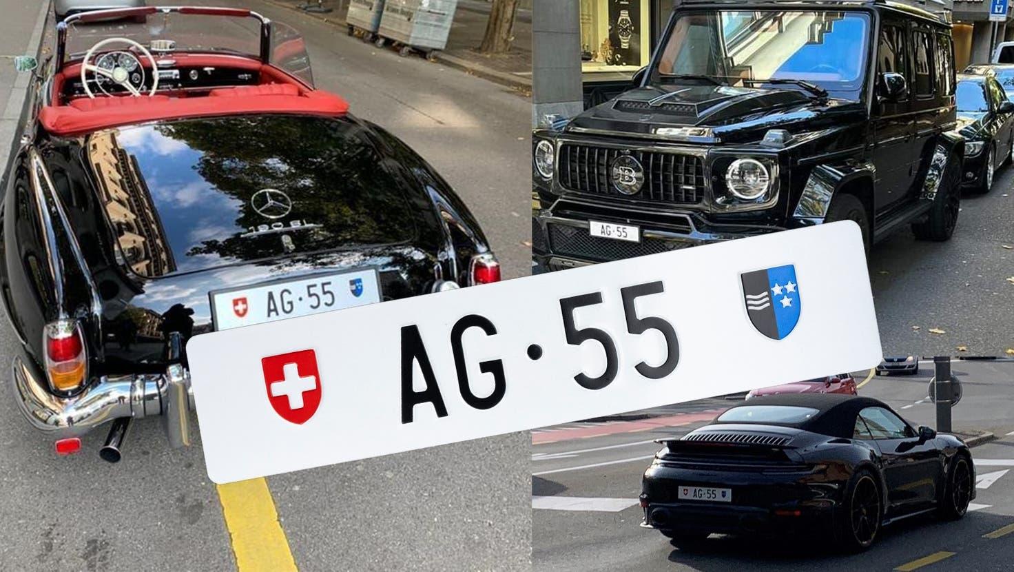 AG 55, die teuerste Aargauer Autonummer, an einem von Brabus getunten Mercedes G-Klasse. (Fisnik Kadriu / zvg)