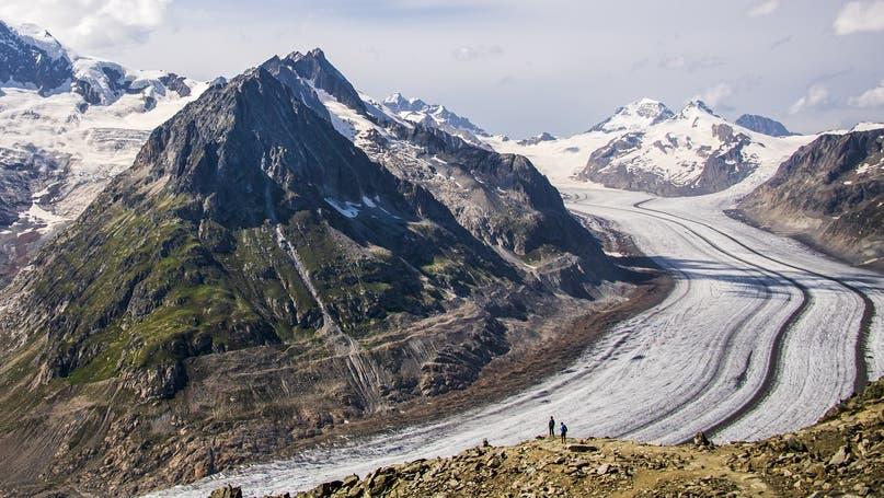 Der Aletschgletscher ist besonders stark von der Schmelze betroffen. (Jean-Christophe Bott / Keystone)