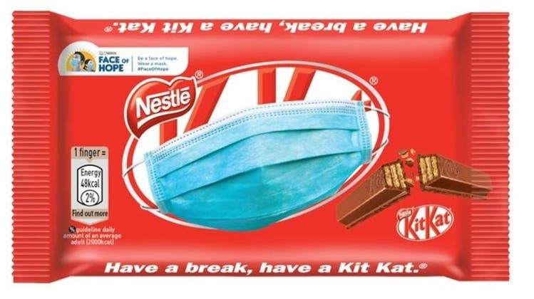 Nestlé hat mehrere Markenprodukte mit dem Masken-Bild ergänzt. (Nestlé / Linkedin)