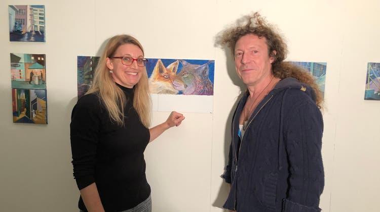 Anja Voegeli, Malerin, und Lukas Meier, Schlagzeuger der Band «Venusboy», haben zusammen ein Bilderbuch entworfen. (Florian Wicki)