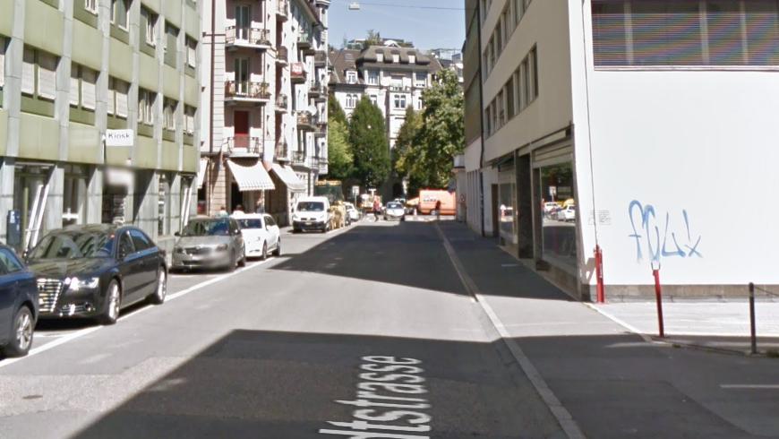 Die Neustadtstrasse in Luzern, im Hintergrund der Bundesplatz. (Symbolbild) (Bild: Google Maps)
