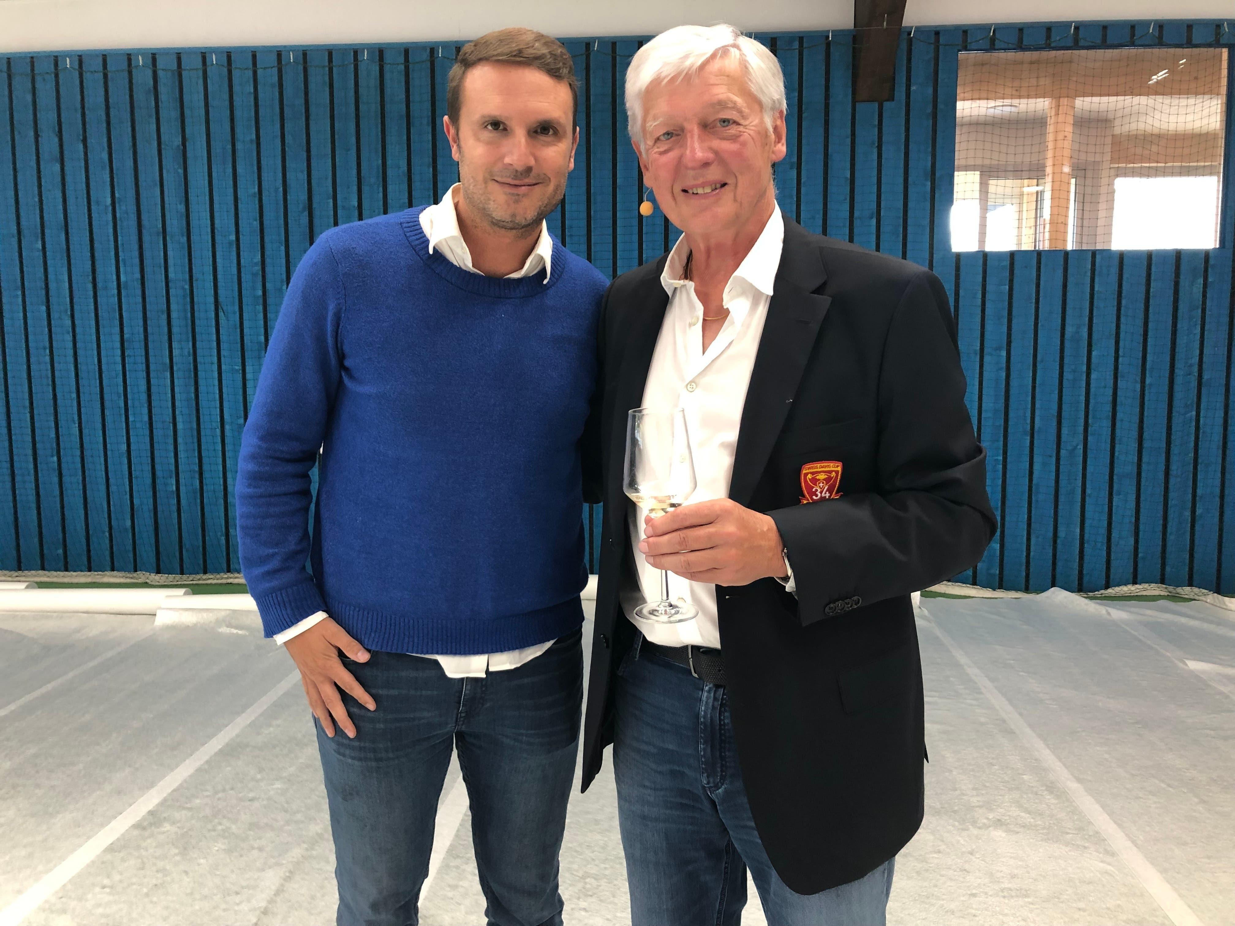 Freddy Blatter mit Alessandro Greco, Leiter Spitzensport bei Swiss Tennis (links).