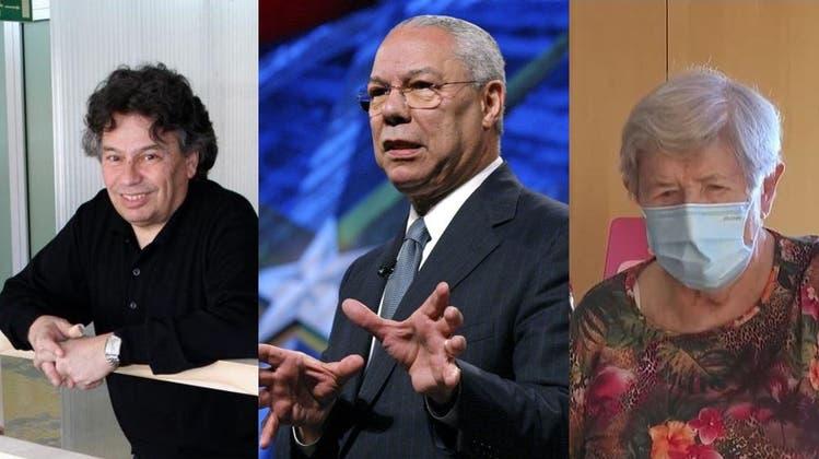 Alt-Nationalrat Andreas Herczog, Ex-US-Aussenminister Colin Powell und eine der ersten Geimpften in der Schweiz, die Krienserin Alice Schmidli-Amrein, sind alle an Covid-19 gestorben. (Keystone/Wikipedia/CH Media)