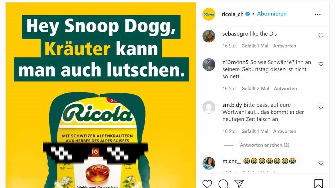 RicolasGrussbotschaft an den US-Rapper Snoop Dogg, die auch anders verstanden werden kann, wie die Instagram-Kommentare zeigen. (Screenshot: Ricola / Instagram)