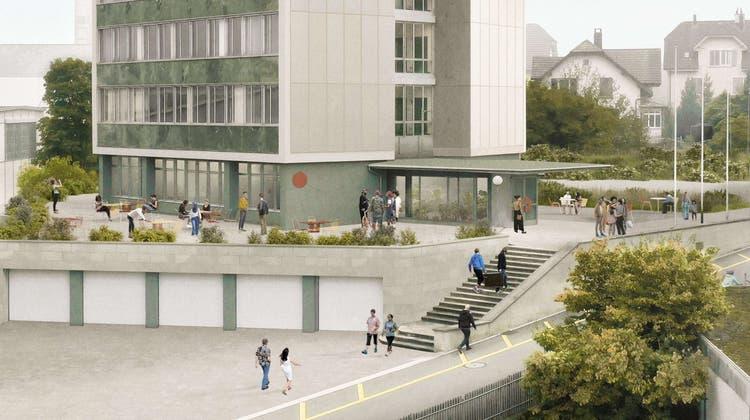 Ein Zentrum sowie ein Begegnungsort: So soll sich der Lernwerk-Standort künftig präsentieren. (Visualisierung: studio maleta und Tschudin + Urech AG)