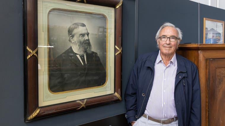Anlässlich des 200. Geburtstags: Ur-Urenkel von Carl Franz Bally, Martin Matter (l.) und Peter Heim, beide sind im Stiftungsrat der Ballyana. (Patrick Lüthy)
