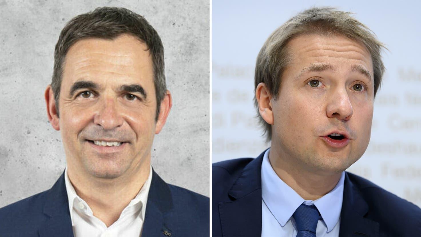 Der Bündner Jon Fanzun (links) wird neuer Generalsekretär der FDP, der Walliser Nationalrat Philippe Nantermodführt den Wahlkampf. (Keystone/Montage_CH Media)