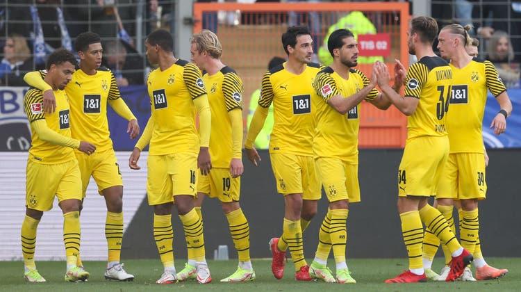 Können wieder jubeln: Der BVB kehrt in der Bundesliga auf die Siegesstrasse zurück. (Keystone)