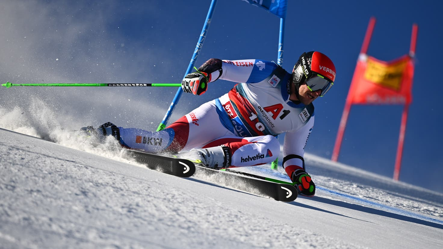 Marco Odermatt of Switzerland in action during the first run of the men's Giant Slalom race of the FIS Alpine Ski World Cup season on the Rettenbach glacier, in Soelden, Austria, Sunday, October 23, 2016. (KEYSTONE/Gian Ehrenzeller) (Gian Ehrenzeller / KEYSTONE)