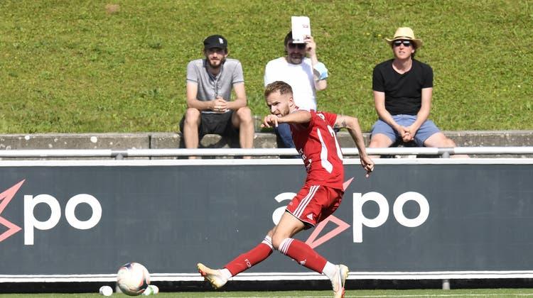 Wenn Chris Teichmann trifft, siegt der FC Baden. (Bild: Alexander Wagner (14.08.2021))
