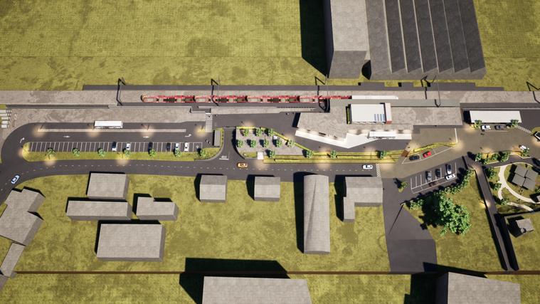 So soll derBahnhofplatz Schönenwerd, mit Bus-Terminal und in modernem Gewand, zum Fahrplanwechsel 2023 hin aussehen. (zvg /reihlenarchitekten GmbH)