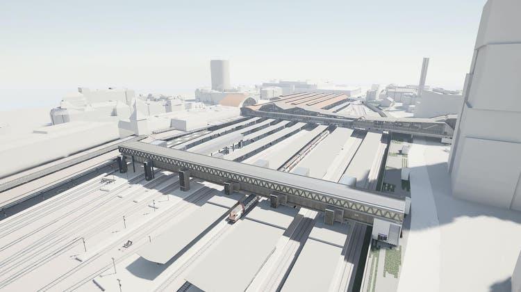 Visualisierung der neuen Gleisüberquerung. (Visualisierung: SBB)