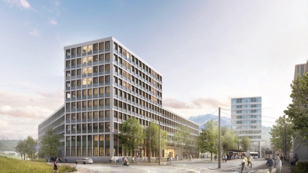 So soll sich das Verwaltungsgebäude am Seetalplatz 2026 präsentieren. (Visualisierung: PD)