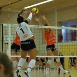 Die Spielerinnen von Raiffeisen Volley Toggenburg, hier mit Sabryn Roberts, fanden kaum eine Lücke im hohen Block von Viteos NUC. (Bild: Reinhard Kolb)