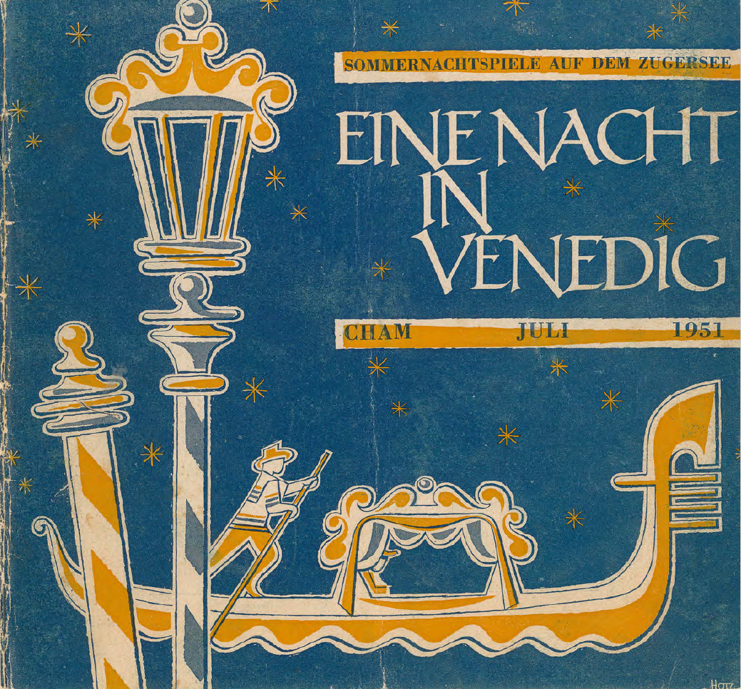 Ausschnitte aus dem Programmheft-Exemplar des Chamers Oskar Gretener. Das ganze Programmheft ist auf chamapedia.ch abrufbar. Das Deckblatt des Programmheftchens zeigt eine Zeichnung einer Szene aus dem Theaterstück. Sie stammt vom Baarer Grafiker Eugen Hotz (1917-2000).