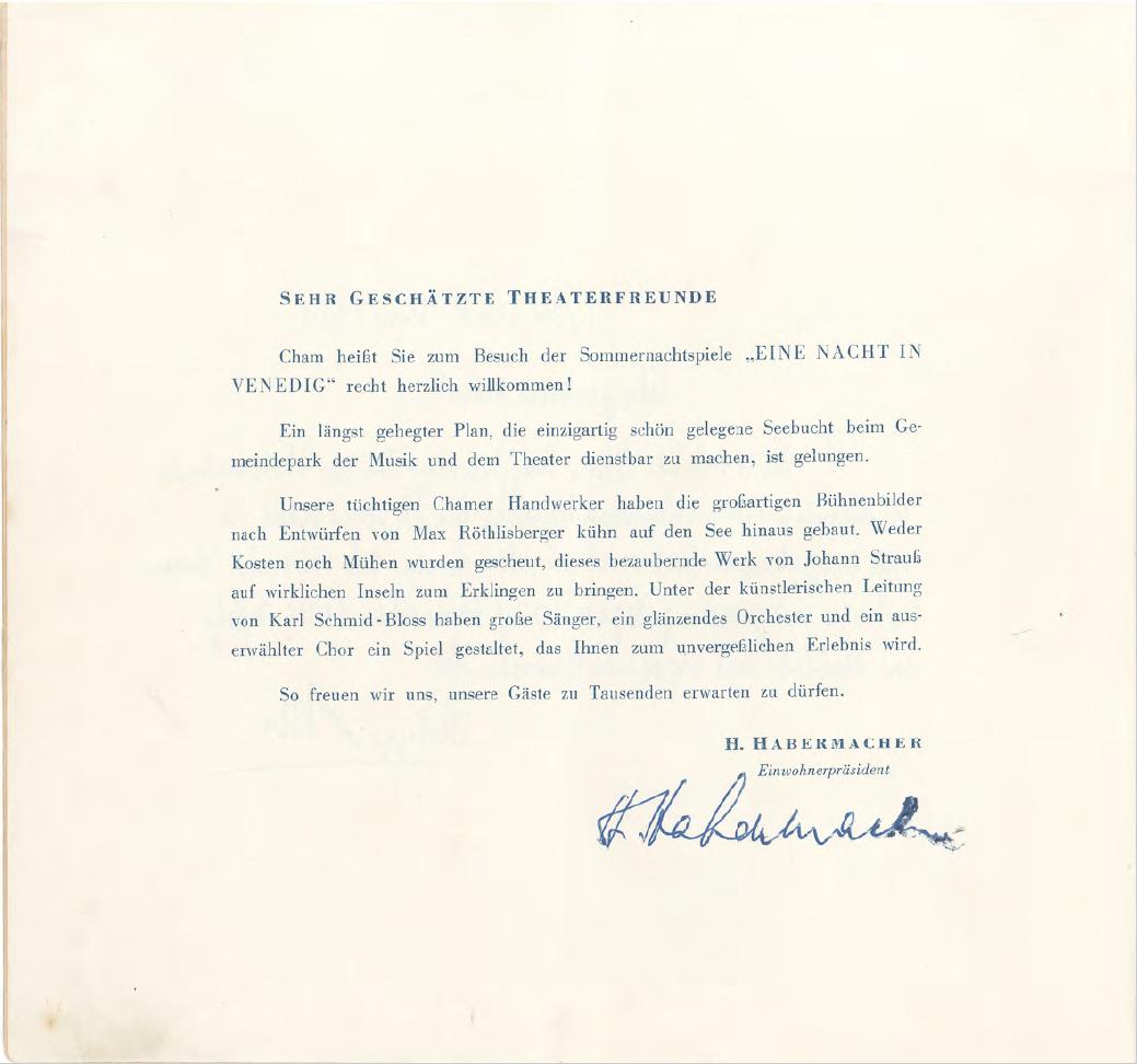 Willkommensworte des damaligen Gemeindepräsidenten Heinrich Habermacher (1902-1983).
