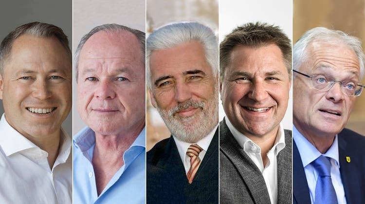 Zum Referendumskomitee gehören (von links): Kommunikationsberater Philipp Gut (Geschäftsleiter), Verleger Bruno Hug, alt Nationalrat Peter Weigelt (FDP/Präsident), alt Nationalrat Toni Brunner (SVP), Ständerat Thomas Minder (parteilos). (CH Media (Key/ZVG))