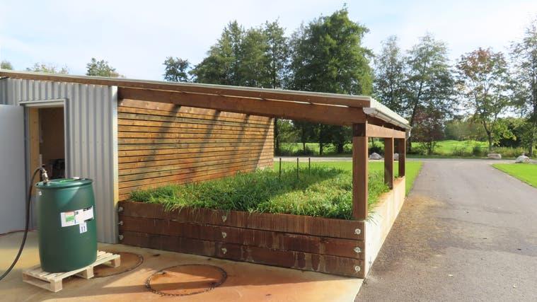 Waschplatz für Spritzen und Maschinen des Greenkeepings mit Retensionsbeet. (Rahel Meier)