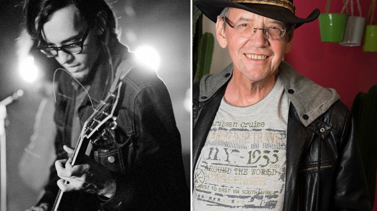 Links 1970: GitarristWalty Anselmo bei Krokodil. Rechts heute: Der 75-jährige Walty Anselmo in Zürich. (Bild: Archiv Düde Dürst / Alex Spichale)